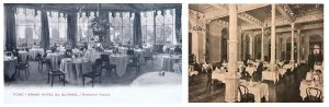 Left : A view of the restaurant in the Grand Hotel de Quirinale and Right: the Salle de Manger in the Hotel Quirinale, Rome
