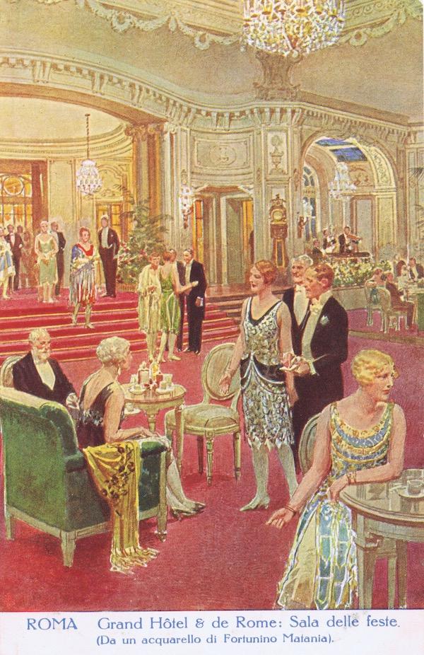 A sketch of the Sala Delle Feste in the Grand Hotel, Rome, 1920s