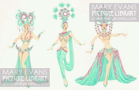Green Costumes Tryptich' - Original costume design by Michael Bronze for performers at Murray's Cabaret Club. From The Mary Evans Picture Library