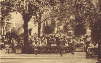 One of the terraces at the Chateau de Madrid, 1920s
