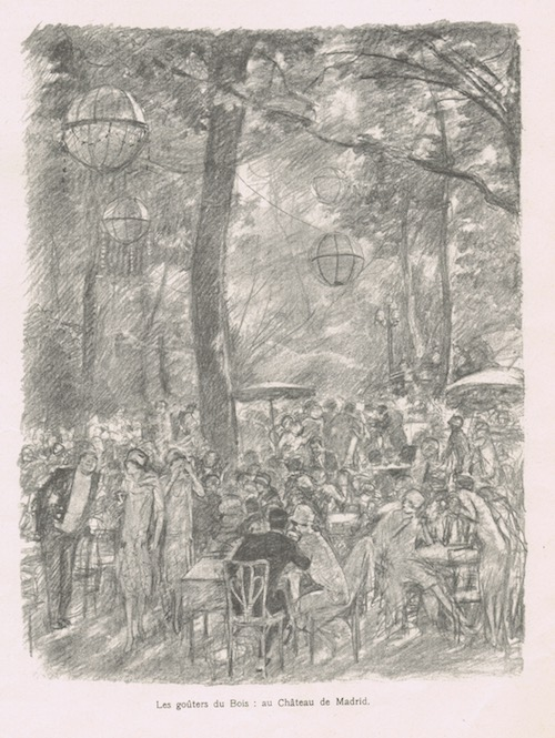 A sketch of dancing and dining outdoors at the Chateau de Madrid, 1920s