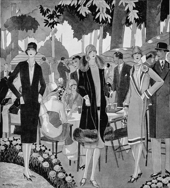 A sketch of fashions at the Chateau de Madrid. 1920s
