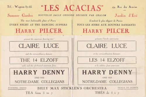 The programme for one of the cabaret shows at the Acacias night-club, Paris featuring Claire Luce, 1920s