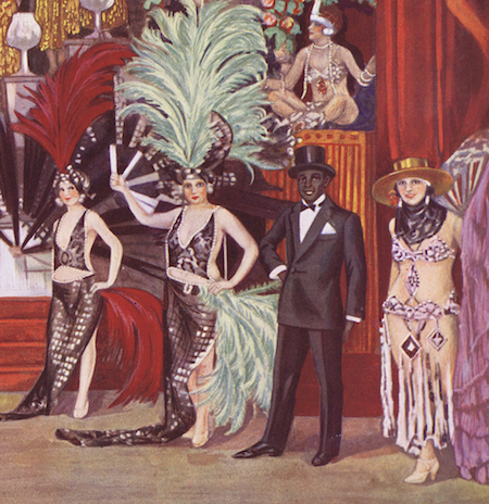 Sonny Jones with other member of the cast in the finale of the revue Paris Voyagers at the Palace Theatre, Paris, 1925-26