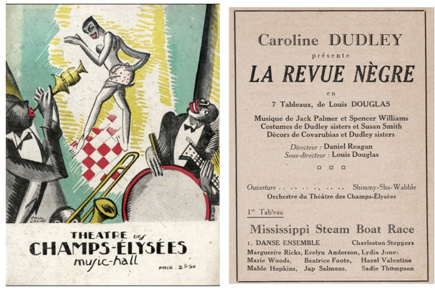 Part of the programme for La Revue Negre, Paris, 1925