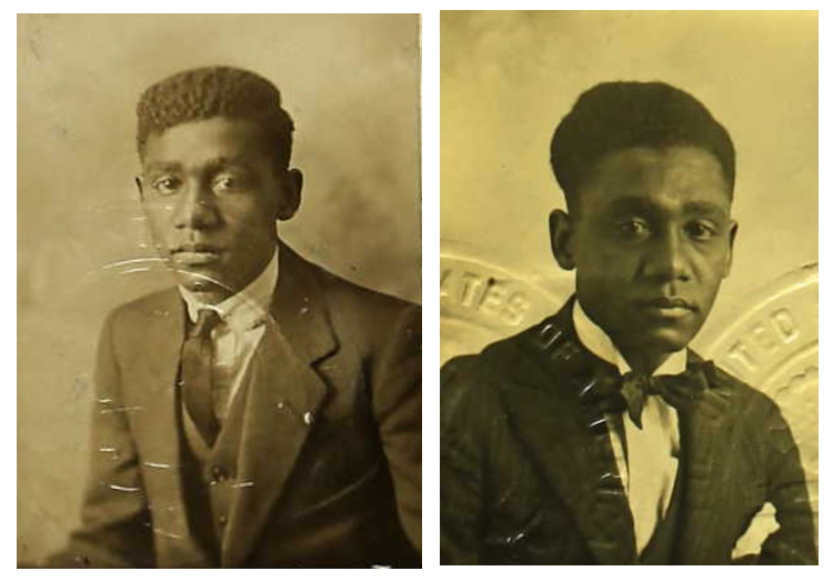 Two passport photographs of Fernando 'Sonny' Jones