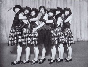 The chorus girls in the cabaret show Carnival Time at the Criterion Ballroom, 1924