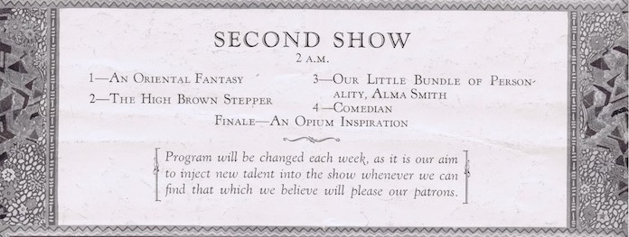Detail from a programme for the Club Alabam, New York in 1926 showing the numbers in the second show staged at 2pm