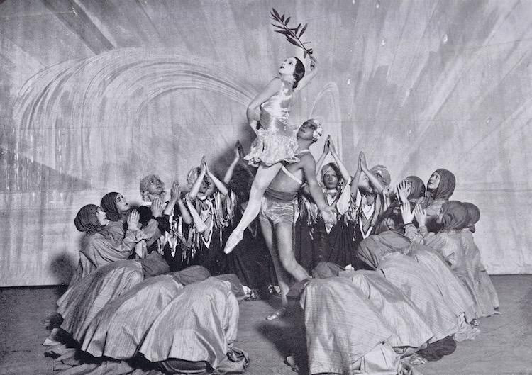 A scene from the 1928 Anton Dolin ballet 'Revolution' showing Anton Dolin representing 'The Spirit of Insurrection' and Vera Nemchinova as ' The Spirit of Peace'