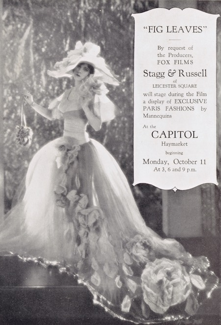Promotional card for the Fox Pictures film Fig Leaves (1926) showing a gown designed by Adrian for Olive Borden