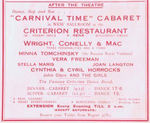 An advert for the cabaret show Carnival Time in the new Ballroom at the Criterion Restaurant, 1920s