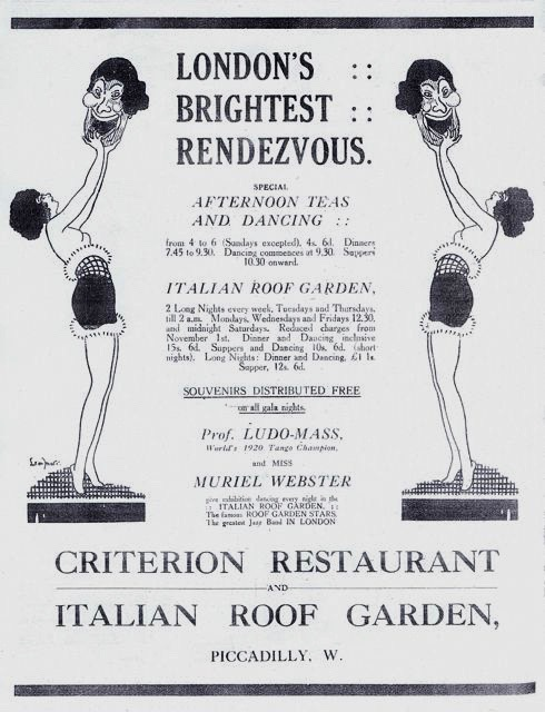 An advert for the Italian Roof Garden at the Criterion Restaurant, 1920s
