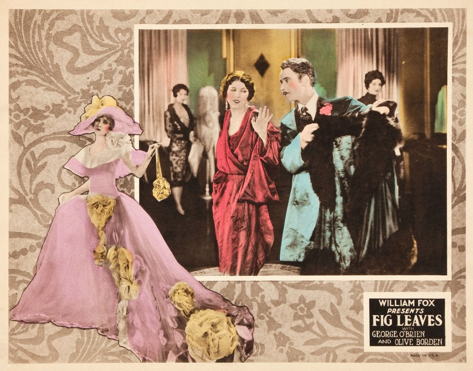 Advertising card for the Fox Pictures film Fig Leaves (1926) showing a gown designed by Adrian for Olive Borden