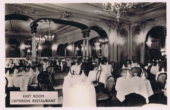 A view of the East Room at the Criterion Restaurant, 1920s