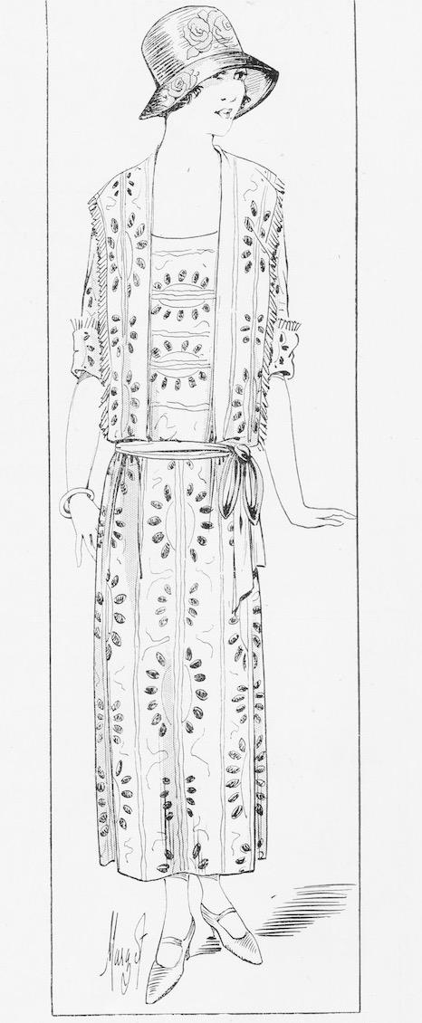 A summery frock in blue and white georgette from Yvonne, 1924