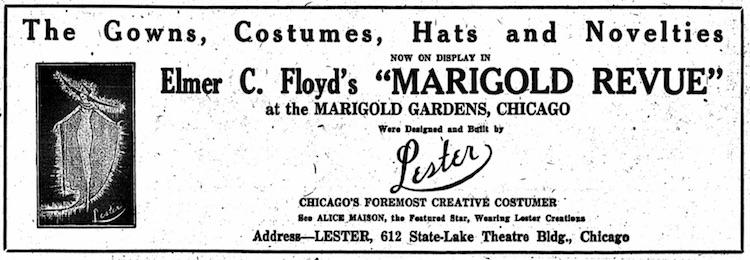 Advert from Lester Ltd, 1920 regarding costuming the Marigold Revue, Chicago