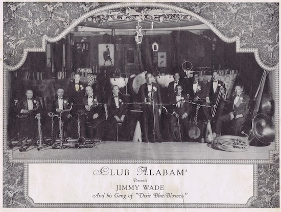 A page from the programme or brochure from the Club Alabam cabaret show, New York, in 1926 showing the Jimmy Wade and his gang of Dixie-Blue-Blowers as the Club Alabam Orchestra