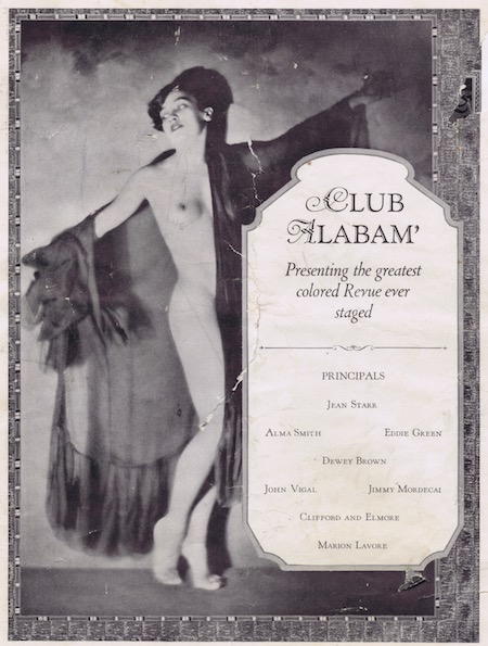 A page from the programme or brochure from the Club Alabam cabaret show, New York, in 1926 with the headline 'presenting the greatest coloured revue ever staged.'