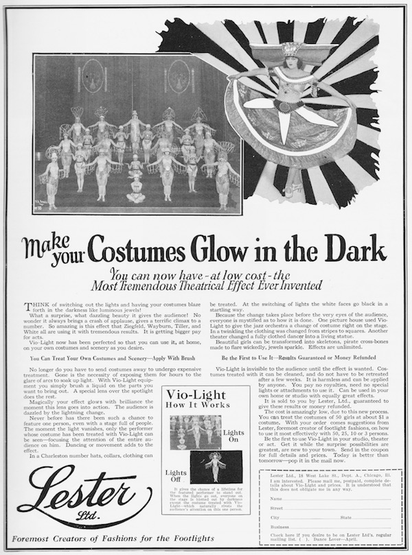 Advert for Costumes that Glow in the Dark from Lester Ltd, 1926