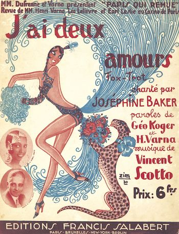 Sheet music with a design by Zig for Josephine Baker, 1930