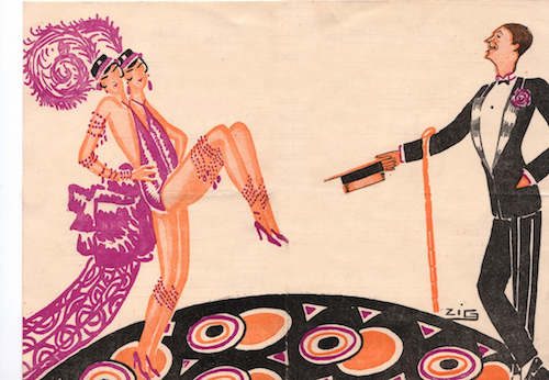 Artwork by Zig representing the Dolly Sisters and Maurice Chevalier from the show Paris En Fleurs at the Casino de Paris, 1925