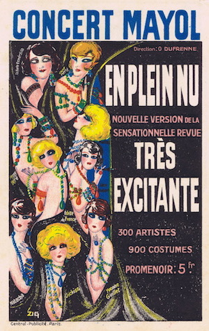 Artwork by Zig for a promotional card for the show En Plein Nu, the new version of Tres Excitante at the Concert Mayol, 1925