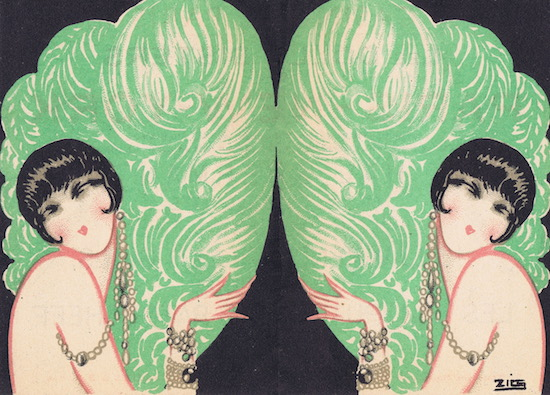 Illustration of the Dolly Sisters by Zig for a promotional leaflet for Paris - New York, Casino de Paris, 1927