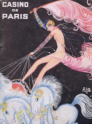 Artwork by Zig for the programme of the show Paris Qui Brille featuring Mistinguett at the Casino de Paris, 1931