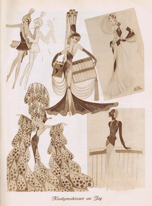 Sketches by Zig included in the brochure for Ernst Rolfs Revue in Stockholm, 1931