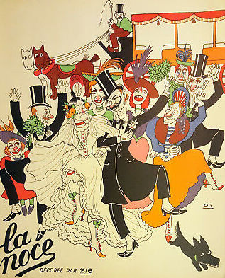 Menu with a design by Zig for Christmas 1934 for the cabaret La Noce