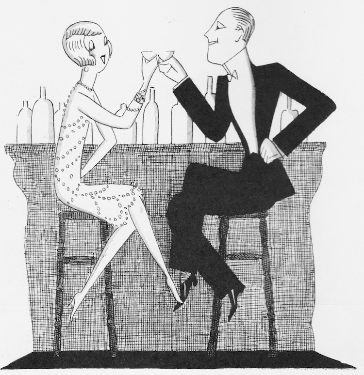A delightful sketch by 'Fish' of a couple having cocktails from 1926