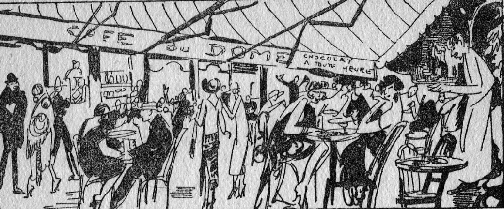 A view of the terrace outside the Dome Cafe, Paris at aperitif or cocktail time, mid 1920s.