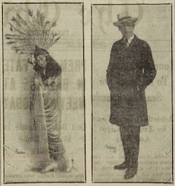 Two photos of Harry Cahill - on the left as a female impersonator in the Argonne Players about 1919 and the other in normal attire