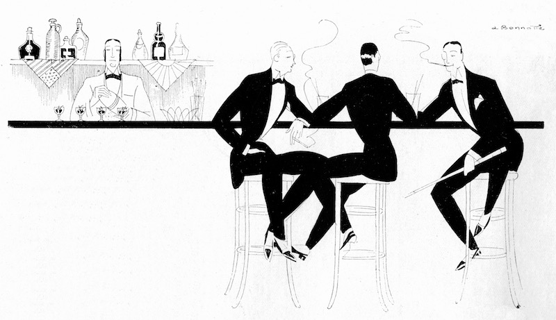 A delightful sketch of three men enjoying cocktails from the 1920s